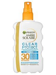 Voorkant verpakking Garnier Ambre Solaire Clear Protect SPF30